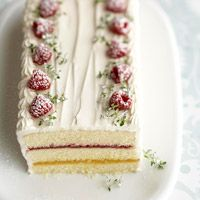 Lemon-Berry Ribbon Torte ~ Judith's comment: this is a very lovely cake for a garden party, easter, mother's day First holy communion, English Tea...the recipe for the sour cream frosting is wonderful with the lemon/raspberry.
