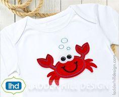 Crab Applique  Pinch Me I'm Cute Crab Applique Summer