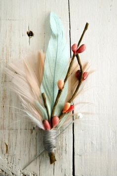 Mint Green Wedding Feather Boutonniere for Groom/ for flyfisherman groom, groomsmen?