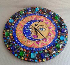 """Часы настенные """"День и Ночь"""", НАТАЛЬЯ ПОЛЕХ Mosaic Art, Mosaic Tiles, Handmade Clocks, Wall Watch, Art Of Glass, Diy Clock, Mandala Dots, Polymer Clay Crafts, Christmas Images"""