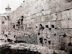 "This photo, taken around 1860, shows walls built within feet of the historic wall. Local Jews call it Kotel, which some say is a Hebrew play on words – using a number associated with God and the word ""hill"" – thus, ""God's Hill."""