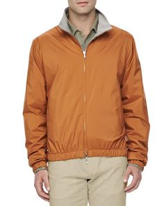 $2,425, Loro Piana Windmate Reversible Bomber Jacket Amber. Sold by Bergdorf Goodman. Click for more info: https://lookastic.com/men/shop_items/74636/redirect