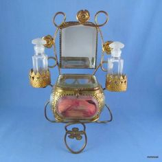 perfume caskets   Antique French Beveled Glass Jewelry Casket Mirror Perfume Bottle ...
