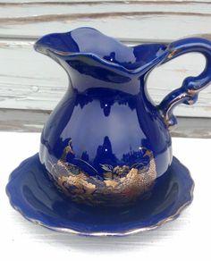 Cobalt blue porcelain Asian pitcher