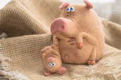 Needle Felted Toy - Pig He needle felted from natural wool. Big pig height 11-12 cm. Big pig height 11-12 cm Feel free to convo me with any questions you might have, and thank you for visiting my shop