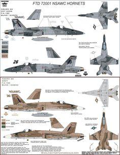 Fightertown Decals 1/72 NSAWC Hornets F-18A/C decal sheet