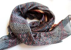 Mayil silk cotton blend block print scarf - hand made unique light-weight scarf  zari border scarf - smokey grey