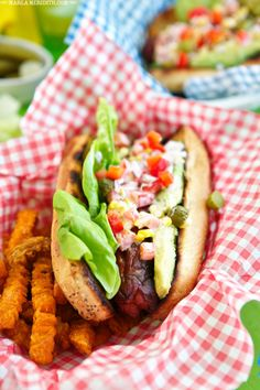 Summer Dogs | Hot Dogs with Grilled Corn Salad & Avocado | FamilyFreshCooking.com