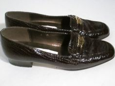 """ETIENNE AIGNER 6 M BROWN PATENT  REPTILE LEATHER 1"""" HEELS-$10.00 #EtienneAigner #LoafersOxfords"""