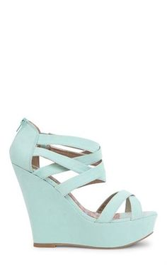 Deb Shops #mint Open Toe Strappy Platform #Wedge $36.90