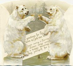 Victorian polar bears antique stand up greeting card toasting with champagne