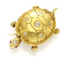 An Antique Gold and Diamond Turtle Brooch, circa 1900. Available at   FD Gallery. www.fd-inspired.com