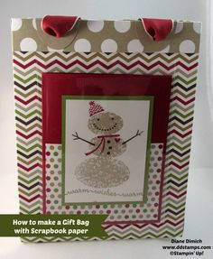 How to make a Gift bag using scrapbook paper... needed this somewhere where I can get to it fast.  This is such a great tutorial and having the card in the pocket is adorable.