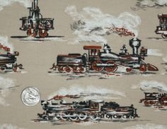Vintage 1960s Novelty Fabric Sewing Material Steam Train Locomotive Perfect for Den, Boys Room, or Mancave. $13.00, via Etsy.