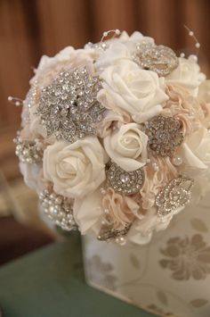 Vintage Floral Crystal and Pearl Bouquet by CoutureBridalDesign, $320.00