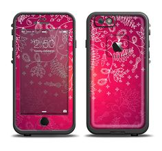 The Glowing Pink & White Lace Apple iPhone 6/6s LifeProof Fre Case Skin Set