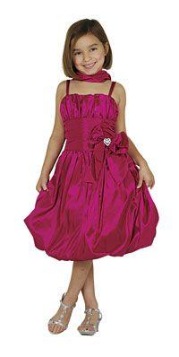 Flower Girl Dresses -   Girls Dress Style 1010- FUCHSIA Taffeta Spaghetti Strap Bubble Dress