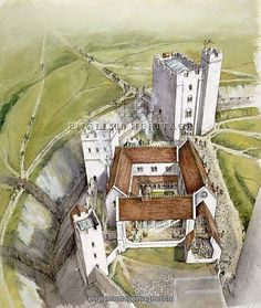 OLD SARUM, Wiltshire. Aerial view reconstruction drawing of the gatehouse and cutaway of the hall and courtyard palace in 1140, by Peter Dunn (English Heritage Graphics Team).