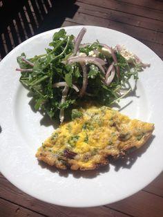 Frittata and arugula salad