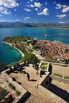 the view from Palamidi Castle, overlooking Nafplio, Greece. LOVED this place. I wanna go back! Places Around The World, Travel Around The World, Around The Worlds, Dream Vacations, Vacation Spots, Places To Travel, Places To See, Myconos, Places In Greece