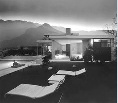 The Sun sets behind the San Jacinto Mountain range in 1947. Pictured is Richard Neutra's Kaufmann House as photographed by Julius Shulman.
