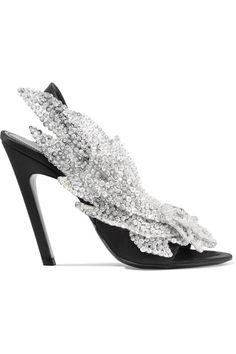 9d7a44c7868 Balenciaga Talon Slash Sequin-Embellished Satin Slingback Sandals Sequin  Shoes