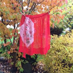 Vintage Red Organdy Half Apron With Floral by BessieRuths on Etsy