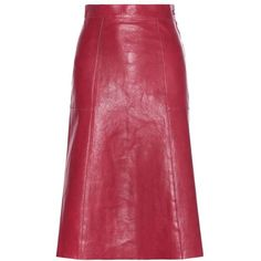 Vanessa Bruno Doma Leather Skirt (5.730 DKK) ❤ liked on Polyvore featuring skirts, red, vanessa bruno, red skirt, knee length leather skirt, vanessa bruno skirt and leather skirt