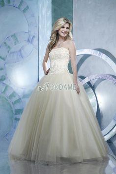 Perlenbesetztes ärmelloses trägerlos romantisches bodenlanges Brautkleid mit Applike