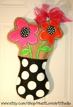 Flower Pot Mothers Day Burlap Door Hanger by MustLoveArtStudio, $35.00