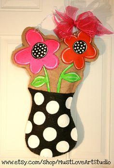 Flower Pot  Burlap Door Hanger