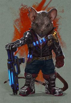 Cyborg, Veteran, Soldier, and also a Mouse Sci Fi Mouse Veteran by Taylor Payton Alien Character, Game Character, Character Concept, Concept Art, Science Fiction, Sci Fi Kunst, Les Aliens, Space Opera, Arte Cyberpunk