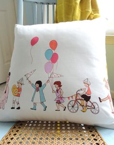 Love this Michael Miller Children At Play fabric - so cute made up as a cushion!