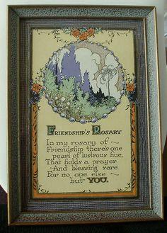 Vintage Saying Framed 1930 Floral Art Friendship Rosary by tea500