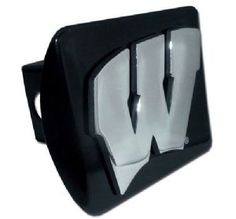 University of Wisconsin Logo Black and Silver Chrome Trailer Hitch Cover is for the University of Wisconsin or NCAA, Wisconsin Badgers sports fan and comes on a black background with large, silver University of Wisconsin W text logo.