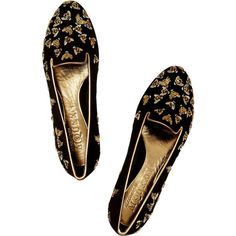 Alexander McQueen Embellished suede slippers ($770) via Polyvore