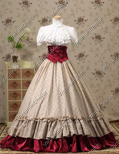 Victorian Gothic Dress Ball Gown Steampunk Halloween Stage Costume Reenactment