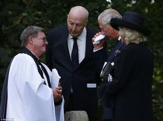The Prince, pictured with the Duchess of Cornwall and Canon Dave Perkins, followed the Dowager's son, Stoker, 70, the current Duke, in scattering earth on the coffin