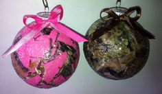 Camo Christmas bulbs. Holiday crafting by Catrina Walker