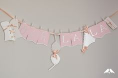 "Make this adorable ""Ooh La La"" Lingerie Shower garland with our FREE printable and Step By Step instructions 