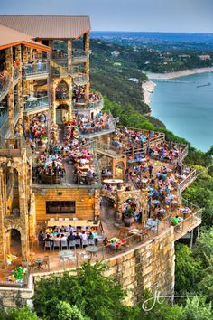 "The Oasis on Lake Travis is a popular restaurant on the western edge of Austin, Texas. The restaurant promotes itself as the ""Sunset Capital of Texas"""