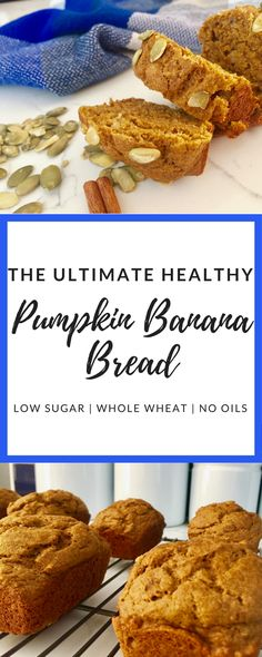 Delicious and healthy pumpkin banana bread. Low sugar and whole wheat. Perfect for fall baking!