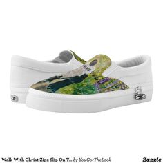 Walk With Christ Zipz Slip On Tennis Shoes, US Printed Shoes