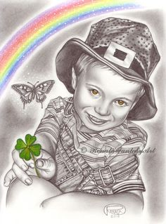 Lucky Clover by Renata Cavanaugh on ARTwanted Drawing Art, Drawing Ideas, Art Drawings, Art Children, Black And White Drawing, Art Pictures, Graphite, Pencil, Princess Zelda