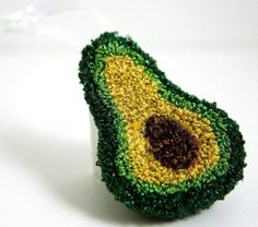Glitter Avocado Punch Needle Christmas Ornament. Spring Green, Dark Green, Yellow, Brown. Quirky Fun Food Art by HarpandThistle on Etsy, $31.76 CAD