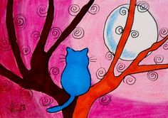 "Aceo Original ""BLUE KITTY, PINK NIGHT"" pencil/ink ON EBAY"