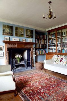 Jane Greenwood and her partner Peter Bloore undertook a heartfelt and sympathetic restoration on their family home - a Grade II listed building dating back to My Living Room, Home And Living, Living Room Decor, Living Spaces, Period Living, Cottage Interiors, Cheap Home Decor, Room Inspiration, Home Remodeling