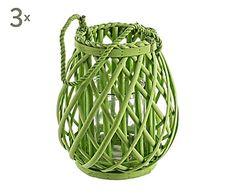 Set de 3 faroles de mimbre y cristal, verde - altura 26 cm