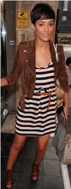 striped dress, brown accessories and jacket
