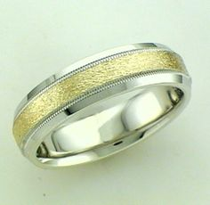 Silver And 14Kt Yellow Gold Men's Band With Double Milgrain And Grindstone Finish 6MM Width